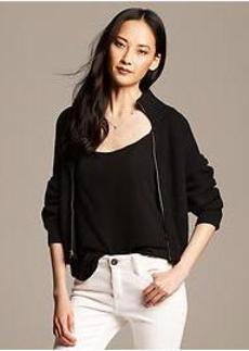 Black Bell-Sleeve Sweater Jacket