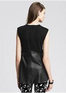 Black Faux-Leather Peplum Top