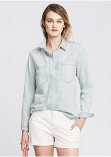 Bleached Down-Wash Denim Shirt
