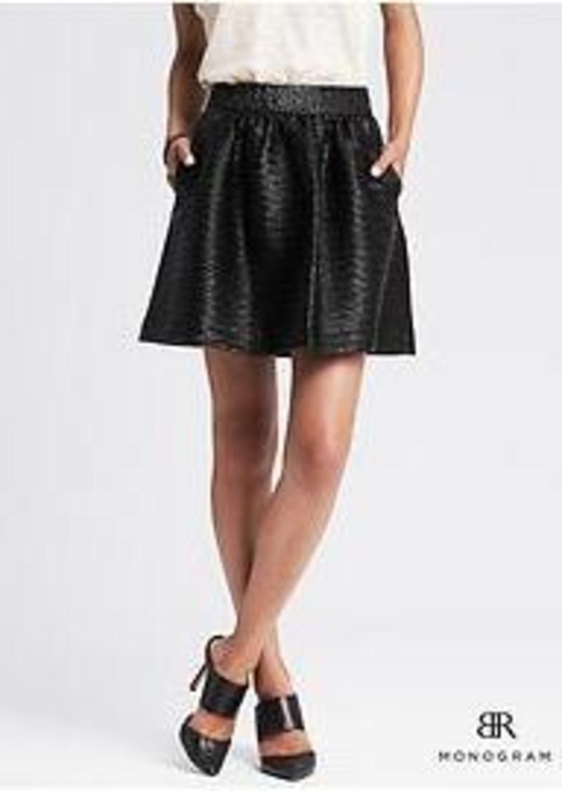 banana republic br monogram black faux leather skirt