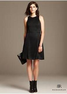 BR Monogram Geo Lace Fit-and-Flare Dress