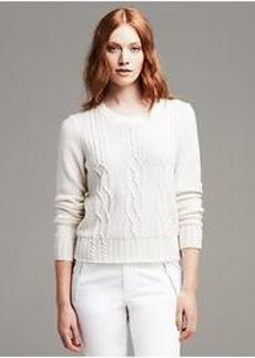 Cable-Knit Crew Cropped Pullover
