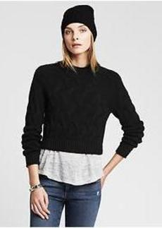 Cable-Knit Cropped Pullover