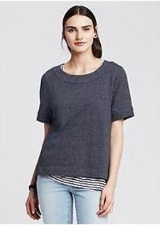 Chambray Short-Sleeve Sweatshirt