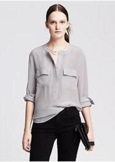 Dark Silk Popover Blouse