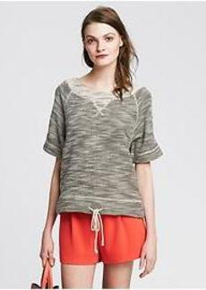 Drawstring Tweed Sweatshirt