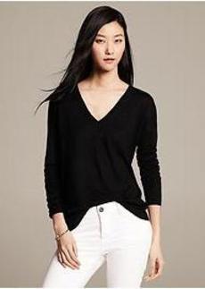 Drop-Shoulder V-Neck Pullover
