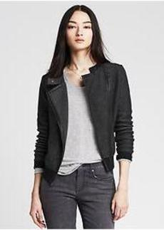 Faux-Leather Trim Moto Sweater Jacket