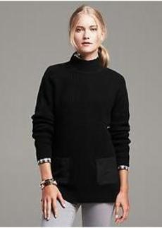 Faux-Suede Patch Waffle Pullover