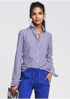 Fitted Non-Iron Blue Stripe Shirt