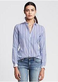 Fitted Non-Iron Blue Striped Shirt