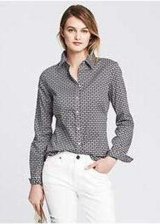 Fitted Non-Iron Heart Print Shirt