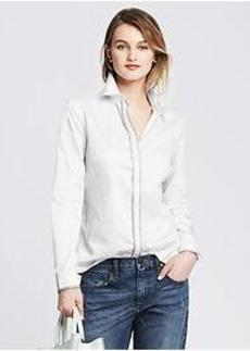 Fitted Non-Iron Piped Sateen Shirt