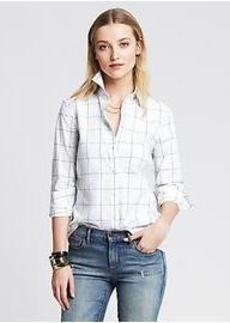 Fitted Non-Iron Windowpane Shirt