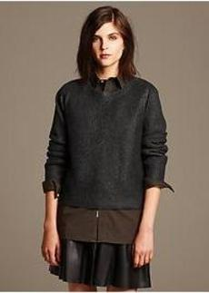 Heritage Foil Cropped Pullover
