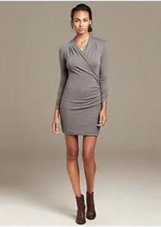 Heritage Gray Knit Faux-Wrap Dress