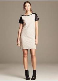 Heritage Tweed Faux-Leather Sleeve Dress