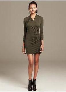 Knit Faux-Wrap Dress