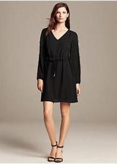 Lace-Trim Tie-Waist Dress