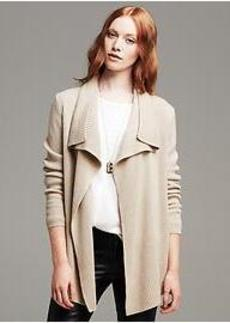 Merino Wool High-Low Open Cardigan