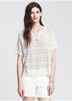 Mesh-Stripe Short-Sleeve Pullover