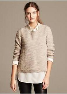 Metallic Cross-Back Pullover