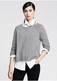 Metallic Pleat-Back Pullover