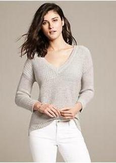Metallic V-Neck Pullover