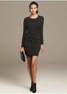 Multi-Stripe Shirred Knit Dress
