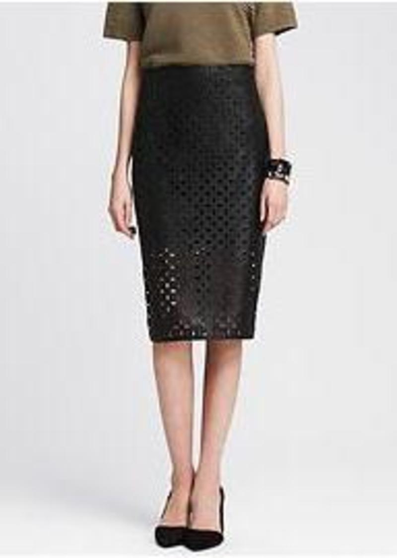banana republic perforated faux leather pencil skirt