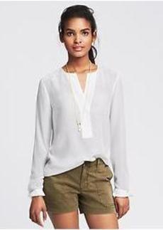 Pintuck White Silk Tunic