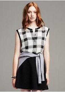 Piped Plaid Sleeveless Blouse