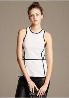 Piped Ponte Peplum Tank