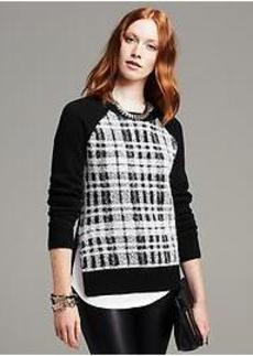 Plaid-Front Crew Pullover