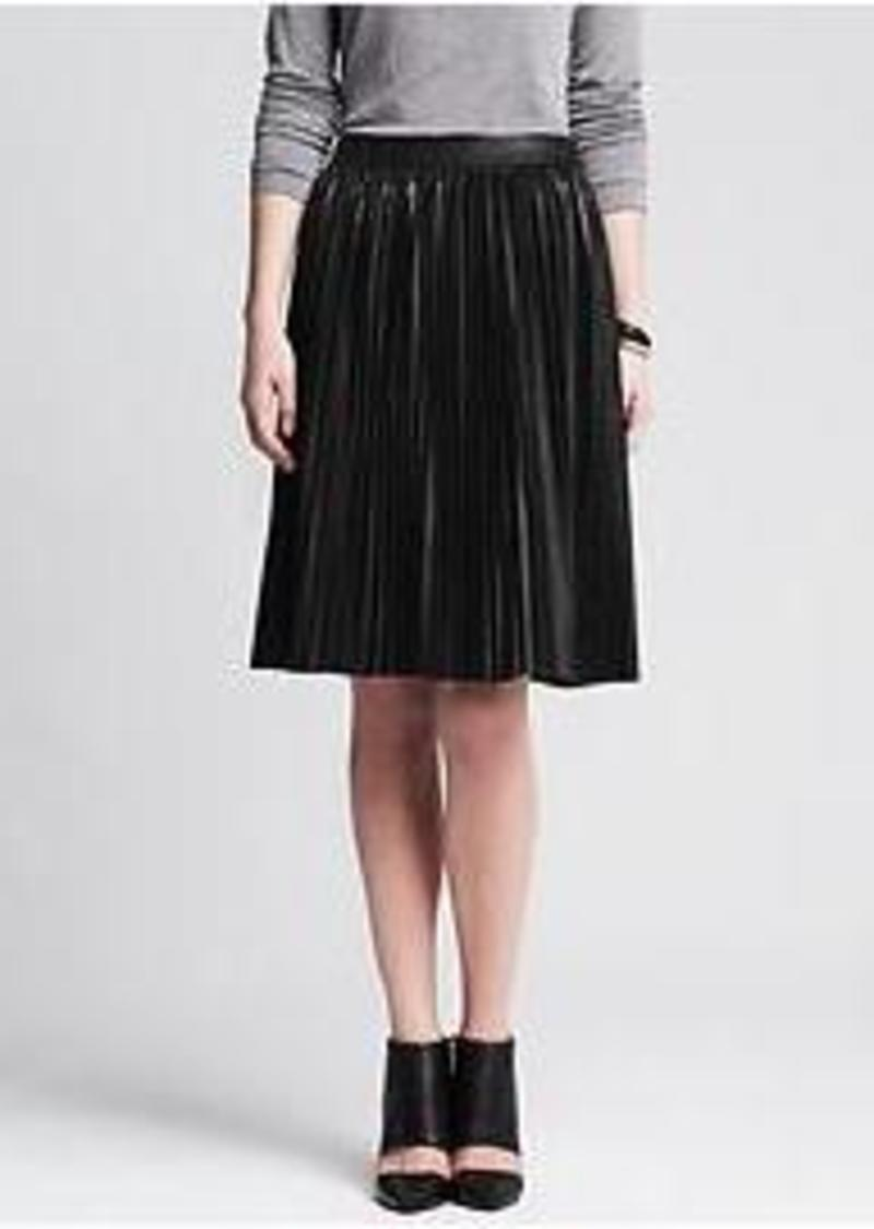 banana republic pleated black faux leather skirt skirts