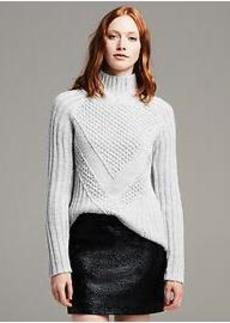Popcorn Stitch Turtleneck Pullover