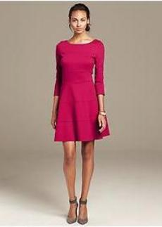 Seamed Ponte Fit-and-Flare Dress