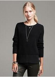 Shaker-Stitch Layered Pullover