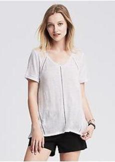 Sheer-Stripe Linen Top