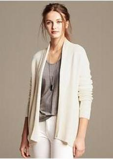 Side-Zip Textured Open Cardigan