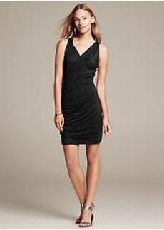 Sleeveless Faux-Wrap Knit Dress