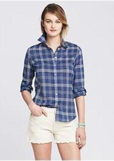 Soft-Wash Blue Plaid Boyfriend Shirt