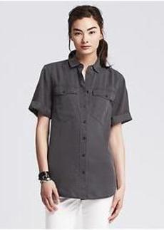 Soft-Wash Denim Short-Sleeve Shirt