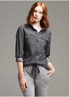 Soft-Wash Gray Denim Shirt