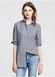 Soft-Wash Ikat Chambray Shirt