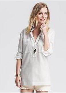 Soft-Wash Roll-Up Popover Shirt