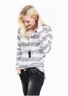 Soft-Wash Striped Boyfriend Shirt
