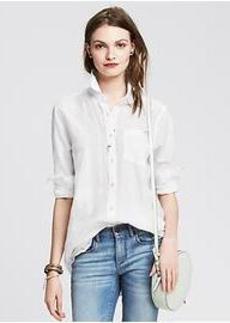 Soft-Wash Textured Voile Boyfriend Shirt