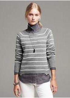Striped Angled-Hem Pullover
