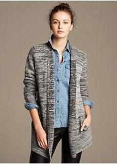 Textured Extra-Fine Merino Wool Open Cardigan